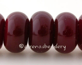 5 OPAQUE DARK RED - Lampwork Round Spacer Glass Beads - Glossy & Matte Handmade Donut Rondelle - 8 to 10 mm
