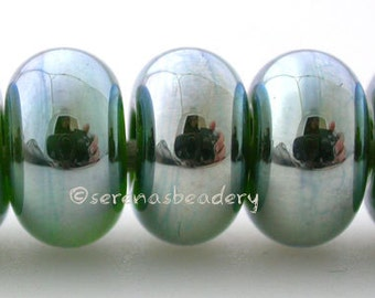 Lampwork Spacer beads 5 GREEN LUSTER Mini Glossy Handmade Glass Taneres sra metallic silver
