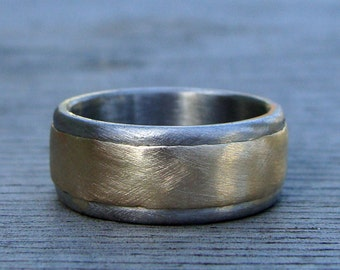 Recycled Metal Wedding Band - 14k Yellow Gold and Recycled 950 Palladium, 8mm Wide, Layered, Two Tone, Matte/Brushed, Mens, Made to Order