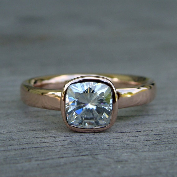Square Cushion Cut Forever Brilliant Moissanite and Recycled 14k Rose Gold Alternative Engagement Ring, Ethical, Eco-Friendly, Made to Order