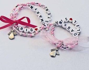 Angel Charm Name Bracelet Personalized Children's Jewelry Big Sister Little Sister Infant Child Kid Adult Sizes Stocking Stuffer