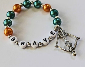 BRAVE inspired Party Favor Bow and Arrow ARCHERY Charm Green and Orange Personalized Name Bracelet Great Stocking Stuffer or Gift