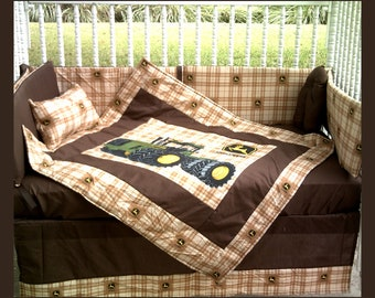 New JOHN DEERE baby crib bedding set in brown Deere plaid fabric and dark brown accent fabric