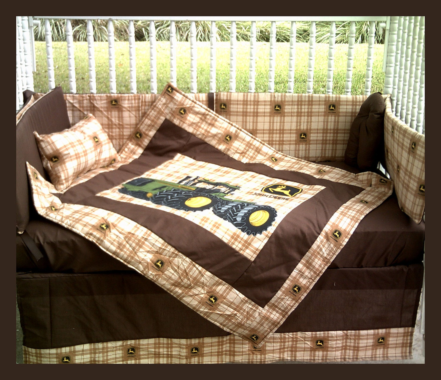John Deere Crib Sets For Boys : New john deere baby crib bedding set in brown plaid