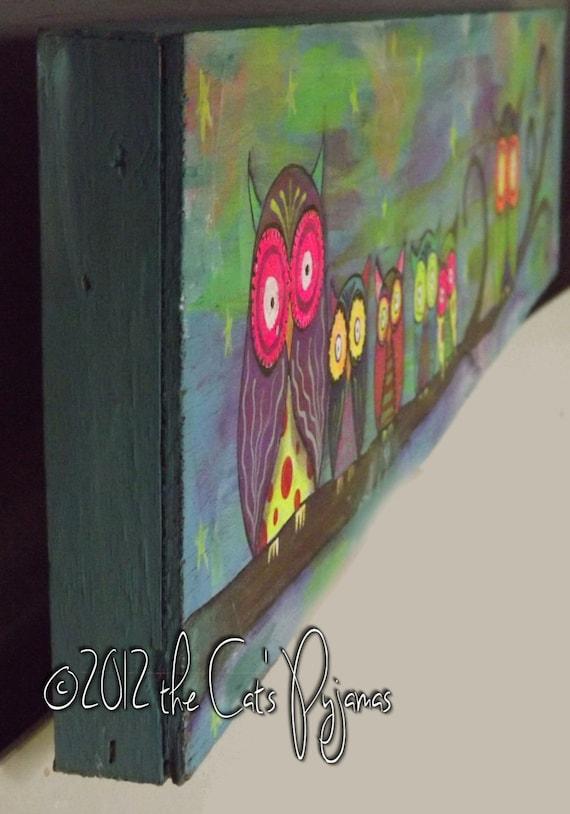Neon Owl Family acrylic on wood Folk Art funky owls on tree branch