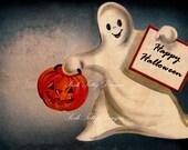 Ghostly Halloween Vintage Greetings Card Digital Download Images (258)