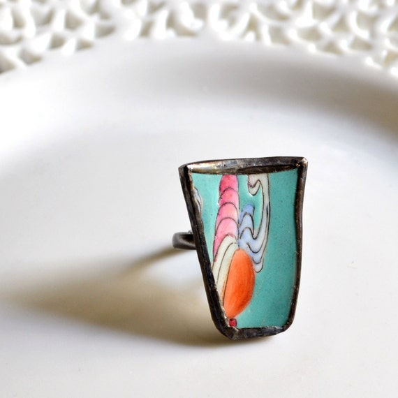 Broken Plate Ring -  Turquoise and Pink Chinese - Recycled China