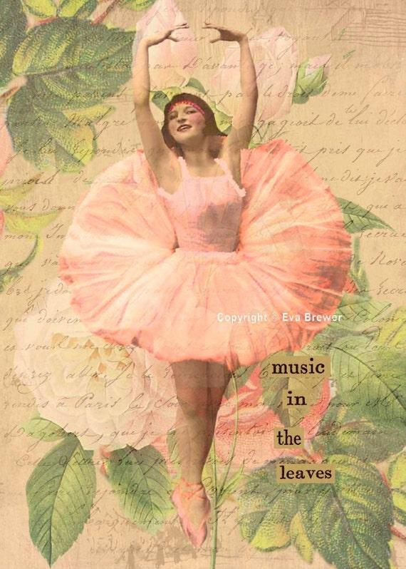 Original digital collage ephemera altered art vintage digital collage sheets digital print pink ballerina girls