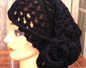 Crochet Hat Women Hat  - Beanie Lace in Black with Flower - Ready To Ship