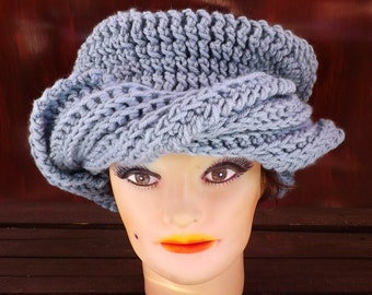 Crochet Hat Womens Hat Trendy Womens Crochet Hat, Womens Turban Hat, Stonewash Light Blue Hat, Samantha Womens Turban Hat Steampunk Hat