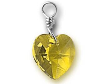 Topaz Yellow Swarovski Crystal Heart Charm November Citrine Birthstone Color