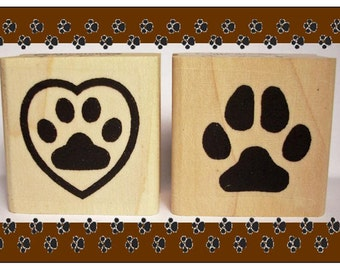 Dog Pawprint Rubber Stamp Set of Two