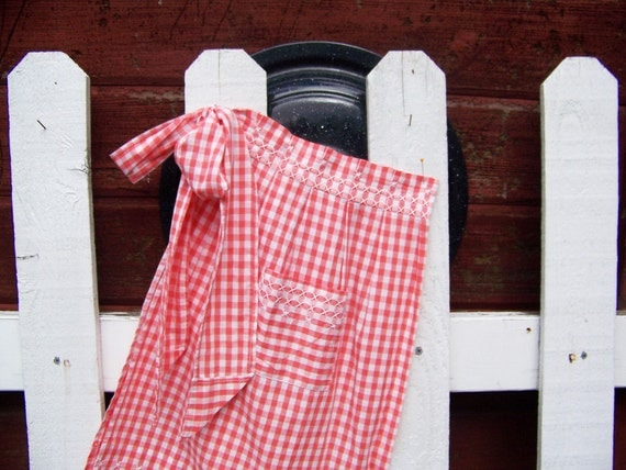 Vintage Apron Orange Gingham with White Cross Stitching