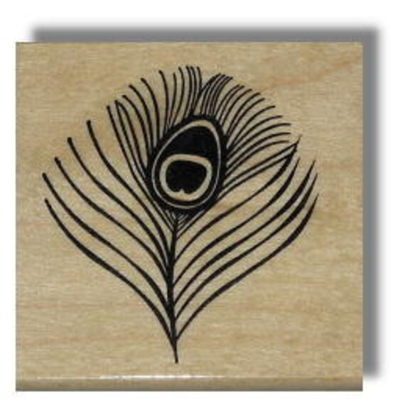 Peacock Eye Feather, small, Mounted rubber stamp No.20