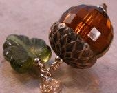 Vintage topaz bead, brass acorn top gold filled necklace