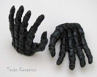 Black Pair Skeleton Bone Hands Ring Holder Kiln Fired Ceramic Clay