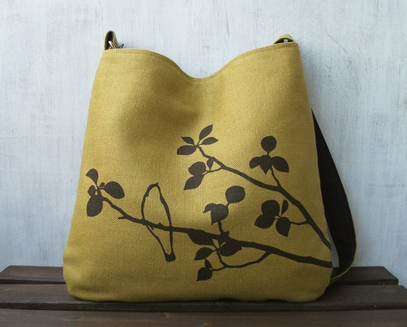 Hemp Tote Bag - Handbag - Messenger Bag with Bird on Tree - Golden Mustard