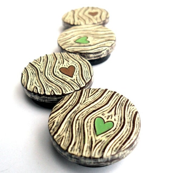 Brown and Cream Woodgrain Faux Bois Heart  with Green and Brown Hearts Magnet Set - Wood You Love Me