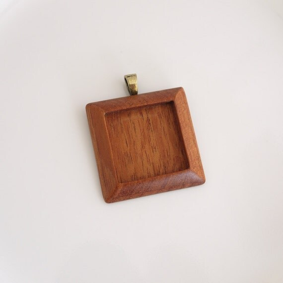 Pendant Setting - Square Frame - Wooden Bezel Cup - Handmade by Artbase - Mahogany - 1 Inch - Brass Bail