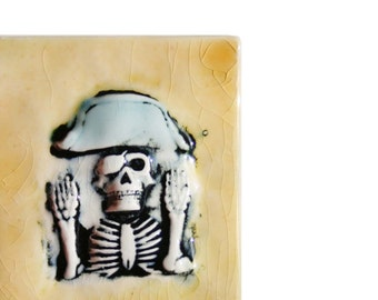 Boney Pirate Skeleton - magnet or ornament - handmade ceramic tile for Halloween or any scarey time