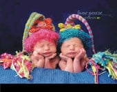 Newborn Girl Flower Hat Knit BaBY PHoTO PRoP 1 Stripe FLoWER PoWER Stocking Cap FuZZy BRiM FaT TaSSeL Beanie CHooSe CoLOR Coming Home Toque