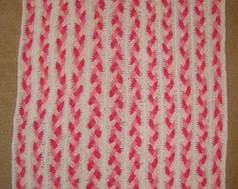 Baby Braided Pinks - Hand Made Crocheted Afghan - BRAND NEW