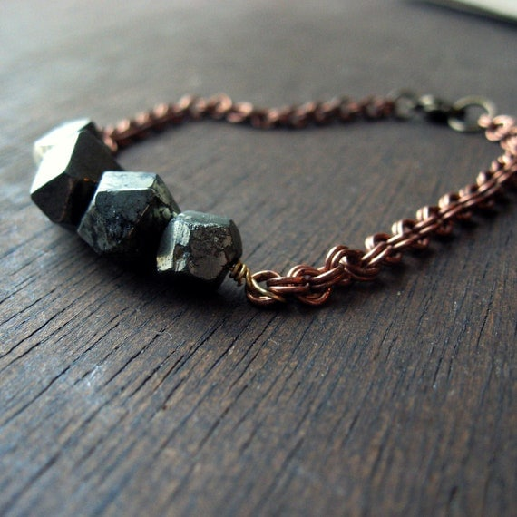 faceted pyrite beaded copper chain bracelet simple organic