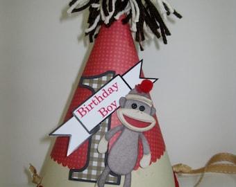 Boys Sock Monkey Personalized Birthday Party Hat