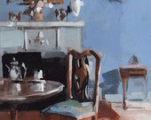 Art Print Living Room Chair Antique Blue - Blue Room by David Lloyd