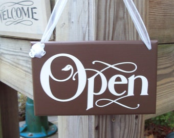 Open Closed  Wood Vinyl Sign Two Side Business Sign Office Supply Grand Opening New Business Merchantile Shop Supplies Sign Welcome Sign