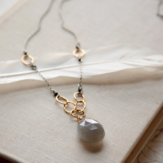 SALE- Hannah Necklace- gray moonstone, sterling silver, goldfill.