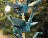 Recycled Paper Origami Crane Trio Christmas Tree Ornament Turquoise Blue with Silver Holiday Decoration
