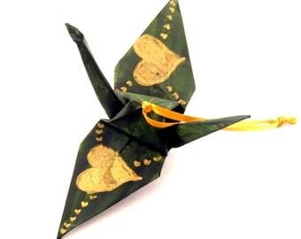 Gold Hearts on Pine Green Origami Crane Ornament Home Decor