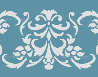 """Size 8"""" x 2"""" Designer Border Damask Stencil for Walls, Curtains, Cakes, Crafts - Pattern Faux Mural 1025"""