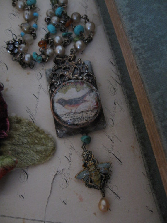 My Private Paradise... vintage assemblage necklace