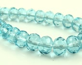 CLOSEOUT SALE for Czech Glass Faceted Gemstone Donut-Aqua-7x5mm-25 Beads