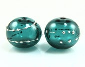 Dark Teal Fine Silver Droplet Hollow Lampwork Glass Bead Pairs