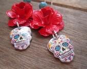 Sugar Skull, Day of the Dead, Dia de los Muertos, red enamel rose Calaveras, Vintage Tattoo Flash, Mexican Skull Earrings, Cinco de Mayo