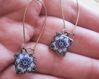 Dangle earrings, Mexican jewelry, Mexican Talavera tile drop earrings, Southwestern style, Boho rustic rose, Talavera Souvenir Jewelry
