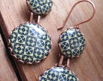 Moroccan World Traveler, Morocco North African tile design drop earrings, Moroccan decor earrings, tribal jewelry, geometric jewelry, MTO