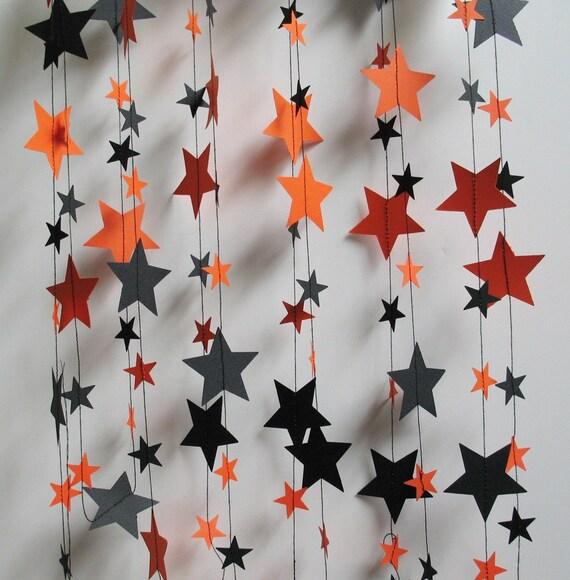 Halloween Garland, Orange and Black Stars, 16 Feet Long