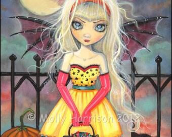 Trick or Treat OriginalGothic Fairy Vampire Cat Halloween Art Archival Giclee Print 8 x 10