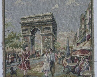 Italian Tapestry panel Paris Arc 14 x 14