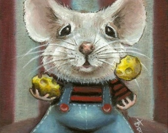 JUGGLER mouse - circus animal art - cheese stripes and dungarees - print of an original painting by Tanya Bond