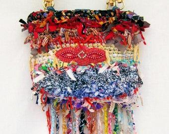 Hand made purse, crochet purse, handbag, rag bag, shabby chic bag, fringed bag, boho bag, purse, designer handbag, gift under 75