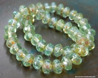 NEW Czech Glass Beads 3x5mm Light Aqua Picasso Rondelle 25 (GG - 62)