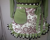 Aprons - Womens Half Aprons - Amy Butler Fabric Apron - The Wood Fern and Ivory Apron - Handmade Ruffled Aprons - Annies Attic Aprons