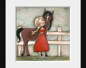 Print of my original folk art painting - Of Course - a girl and a horse