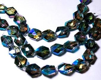 Sahara Green Crystal Nuggets- beads