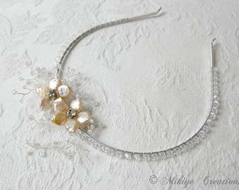 Wedding Headband, Wedding Accessories, Pearl and Rhinestone Bridal Headband, Crystal Wedding Headband - Angelina